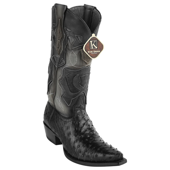 Men's King Exotic Snip Toe Full Quill Ostrich Boots Handmade - yeehawcowboy