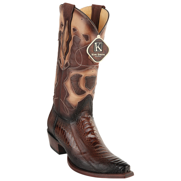 Men's King Exotic Snip Toe Ostrich Leg Boots Handcrafted - yeehawcowboy