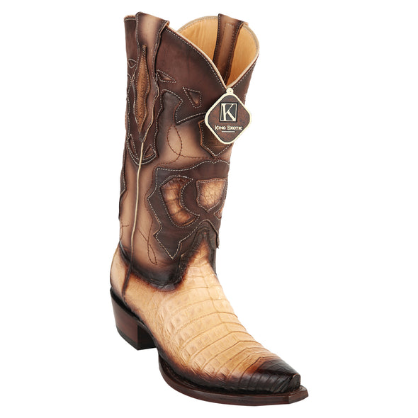 Men's King Exotic Snip Toe Caiman Belly Boots Handcrafted - yeehawcowboy