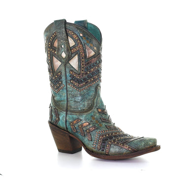 Women's Corral Western Boots Handcrafted Turquoise Bronze - yeehawcowboy