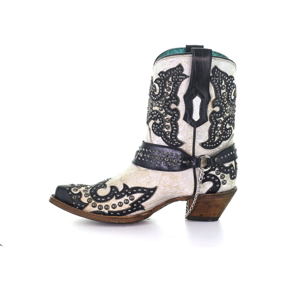 Women's Corral Western Boots Handcrafted White Black - yeehawcowboy