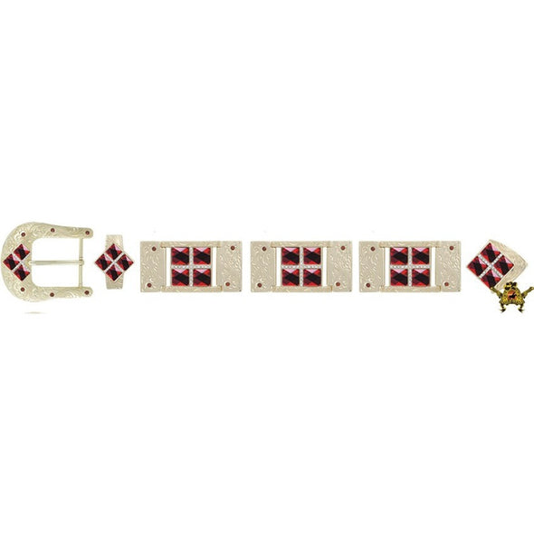 Western Buckle Set Gold Plated Bling With Rhinestone Accents - yeehawcowboy