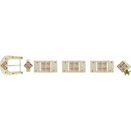 Western Buckle Set Gold Plated Bling With Rhinestone Accents