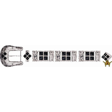 Western Buckle Set Silver Plated Bling With Rhinestone Accents - yeehawcowboy