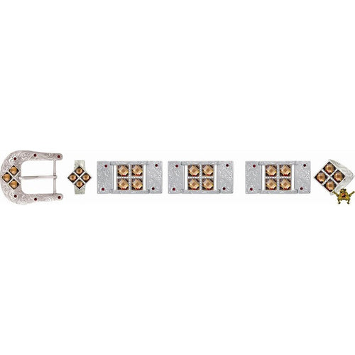 Western Buckle Set Silver Plated Bling With Rhinestone Accents