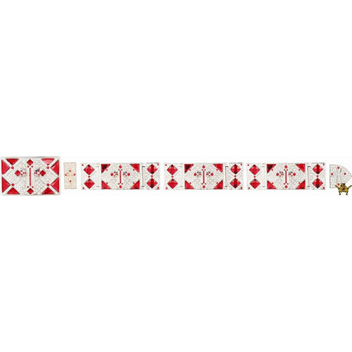 Western Buckle Set Silver Plated With Clear & Red Rhinestones