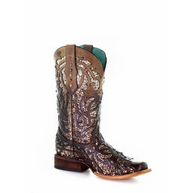 Women's Corral Western Boots Handcrafted Brown - yeehawcowboy