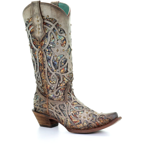 Women's Corral Glitter Inlay Western Boots Handcrafted - yeehawcowboy