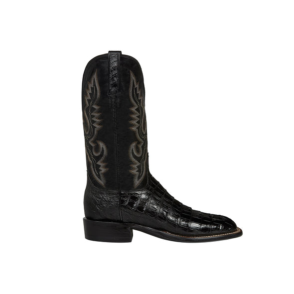 Men's Lucchese Trent Caiman Belly Boots Handcrafted Black - yeehawcowboy