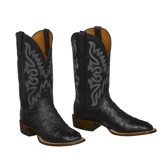 Men's Lucchese Harmon Full Quill Ostrich Boots Handcrafted Black - yeehawcowboy