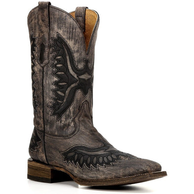 Men's Corral Goat Boots Shaded Eagle Handcrafted - yeehawcowboy