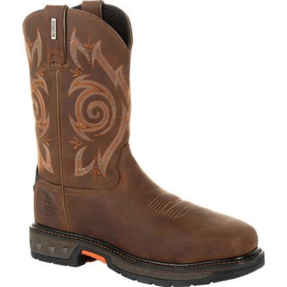 Men's georgia boots CARBO-TEC LT steel toe waterproof pull on work boots - yeehawcowboy