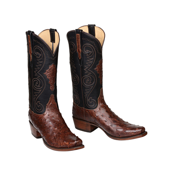 Men's Lucchese Randall Full Quill Ostrich Boots Handcrafted Pecan - yeehawcowboy