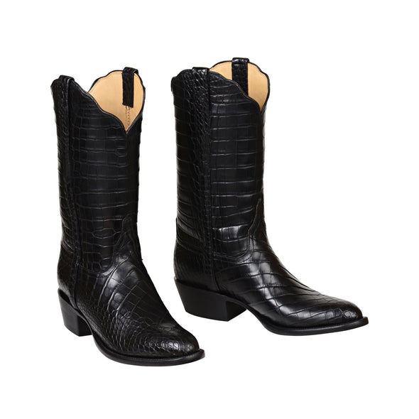 Men's Lucchese Baron American Alligator Boots Handcrafted Black - yeehawcowboy