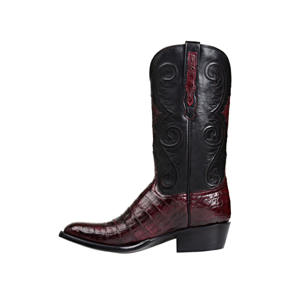 Men's Lucchese Jones Caiman Belly Boots Handcrafted Black Cherry - yeehawcowboy