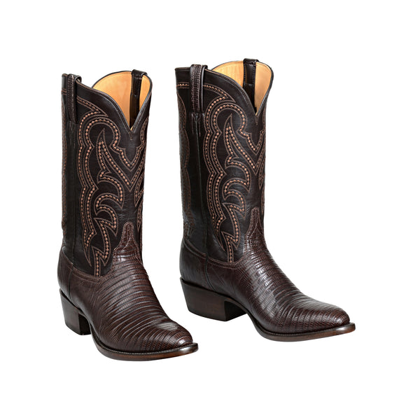 Men's Lucchese Kip Lizard Boots Handcrafted Cigar - yeehawcowboy