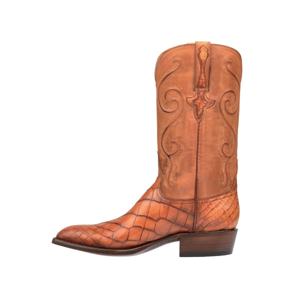 Men's Lucchese Colton American Alligator Boots Handcrafted Cognac - yeehawcowboy