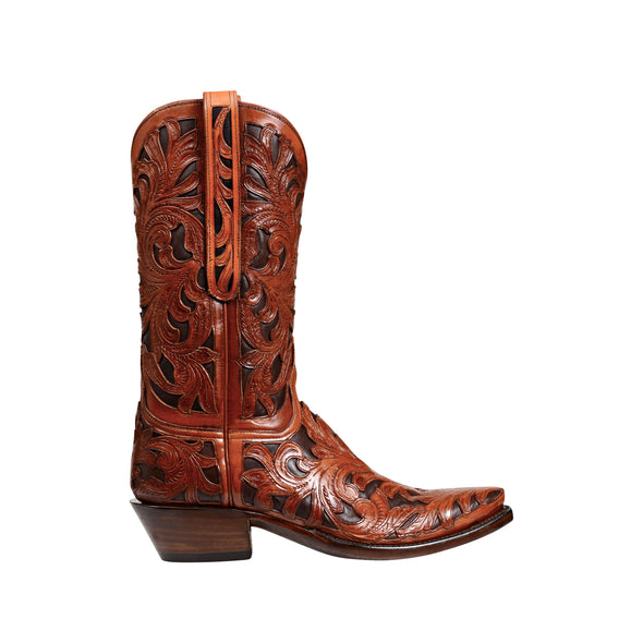 Men's Lucchese Kent Leather Boots Handcrafted Mahogany - yeehawcowboy