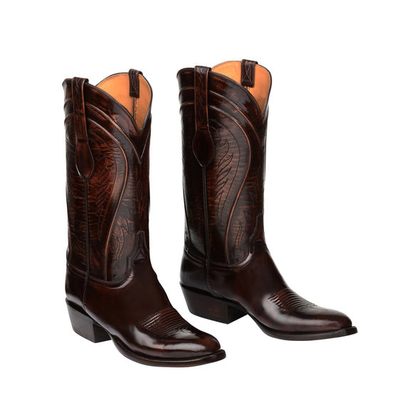 Men's Lucchese Gavin Goat Boots Handcrafted Brown - yeehawcowboy