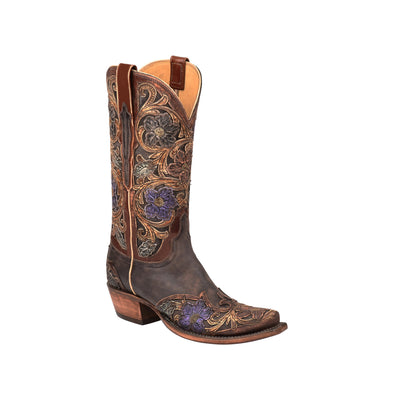 Women's Lucchese Drea Goat Hand-Tooled Boots Handcrafted Dark Brown - yeehawcowboy