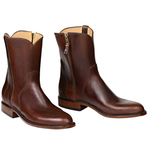 Men's Lucchese Scout Leather Ankle Boots Handcrafted Chocolate - yeehawcowboy