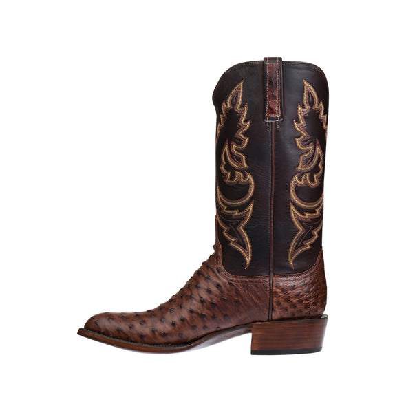 Men's Lucchese Bryan Full Quill Ostrich Boots Handcrafted Sienna - yeehawcowboy