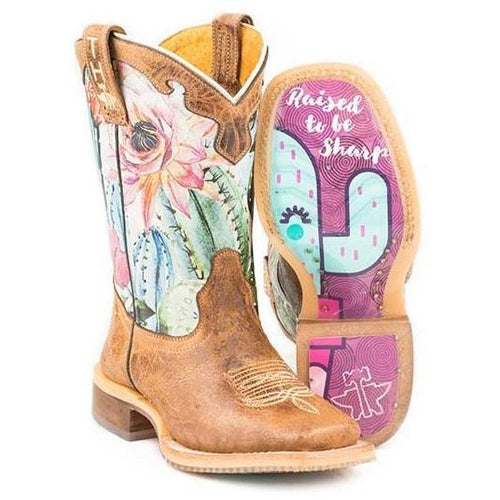 Kids Tin Haul Cactilicious Boots With Raised To Be Sharp Sole Handcrafted - yeehawcowboy