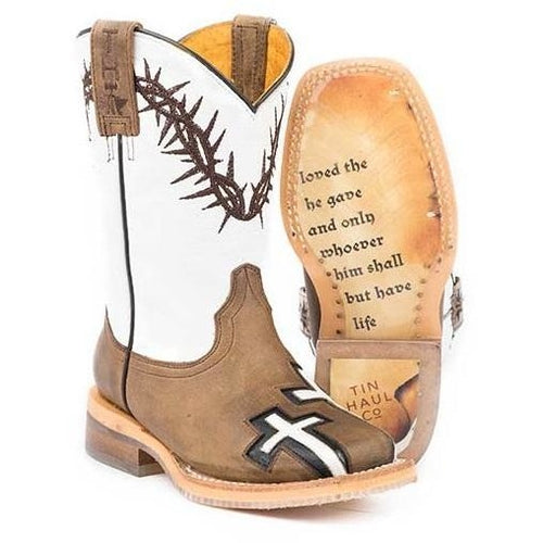 Kids Tin Haul Crosses Boots With Jonh 3: 16 Sole Handcrafted - yeehawcowboy