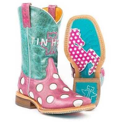 Kids Tin Haul Little Miss Dotty Boots With Horse A Dot Sole Handcrafted - yeehawcowboy