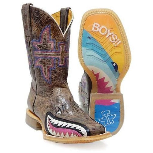 Kids Tin Haul Sharky Boots Handcrafted - yeehawcowboy