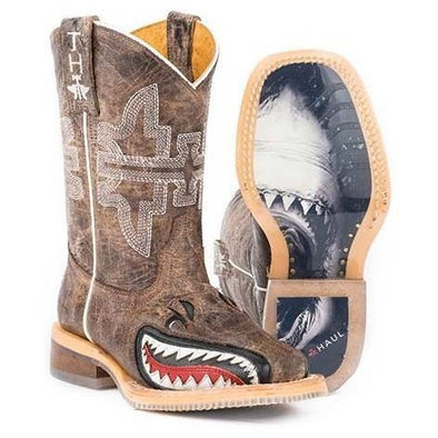 Kids Tin Haul Toastin A Gnarly Shark Boots Handcrafted - yeehawcowboy