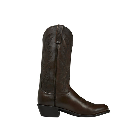 Men's Lucchese Carson Leather Boots Handcrafted Walnut - yeehawcowboy