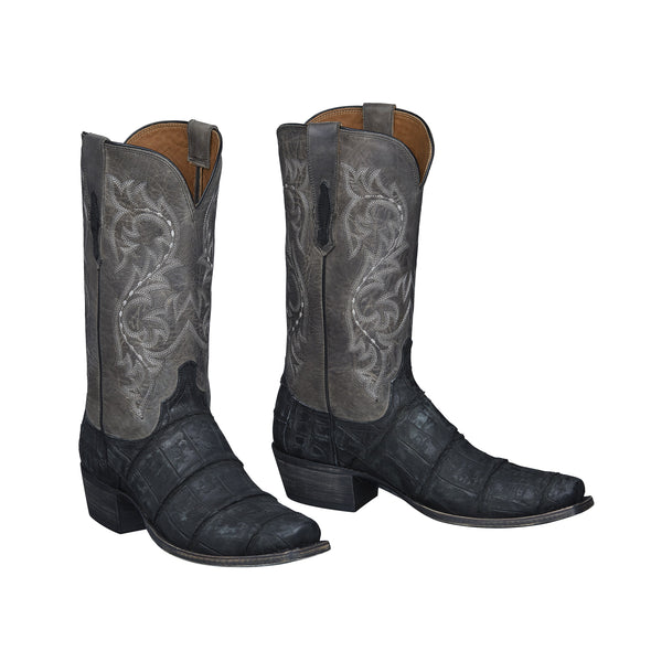 Men's Lucchese Burke Gaint Gator Boots Handcrafted Black - yeehawcowboy