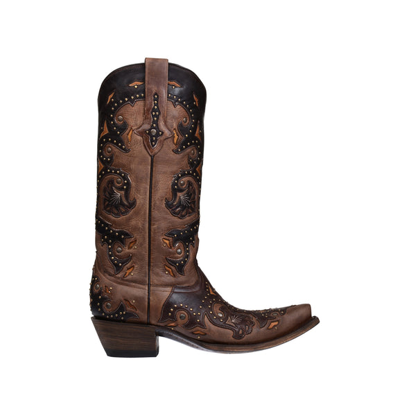 Women's Lucchese Fiona Leather Boots Handcrafted Café Brown - yeehawcowboy
