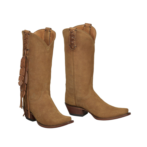 Women's Lucchese Tori Suede Leather Boots Handcrafted Light Tan - yeehawcowboy
