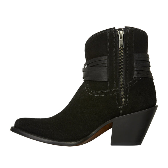 Women's Lucchese Robyn Suede Ankle Boots Handcrafted Black - yeehawcowboy
