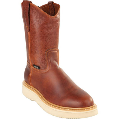 Original Michel Boots-Men's Pull On Work Boot Brown Soft Toe - yeehawcowboy