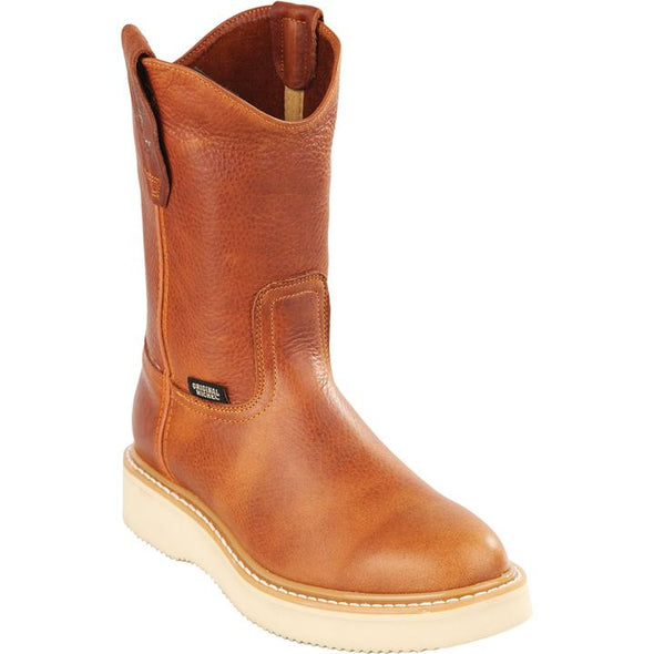 Original Michel Boots-Men's Pull On Work Boot Honey Soft Toe - yeehawcowboy