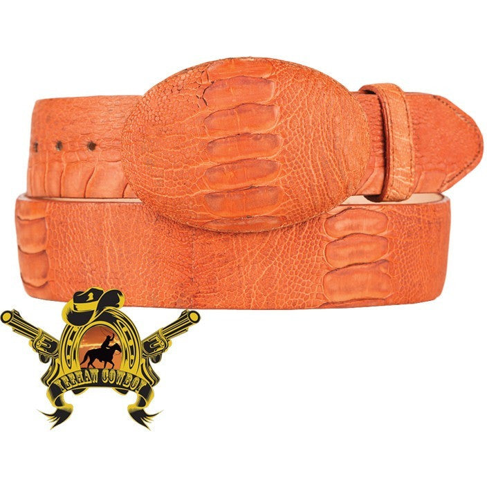 King Exotic Ostrich Leg Belt With Removable Buckle Matte Cognac - yeehawcowboy