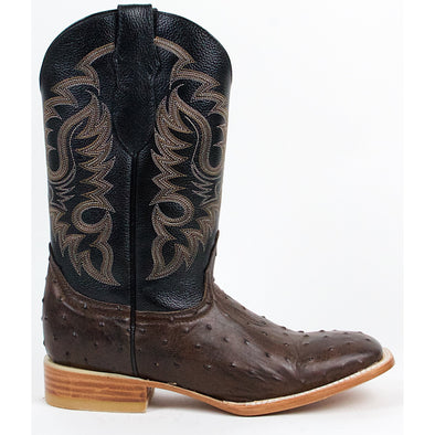 Men's Quincy Full Quill Ostrich Print Boots Square Toe Handcrafted - yeehawcowboy