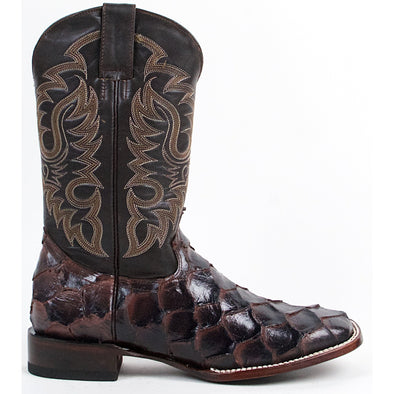 Men's Quincy Pirarucu Fish Print Boots Square Toe Handcrafted - yeehawcowboy