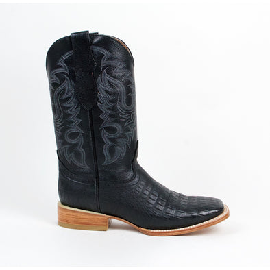 Men's Quincy Caiman Belly Print Boots Square Toe Handcrafted - yeehawcowboy