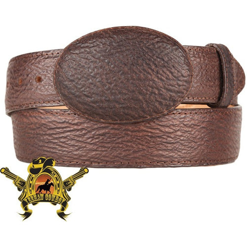 King Exotic Sharkskin Belt With Removable Buckle Brown
