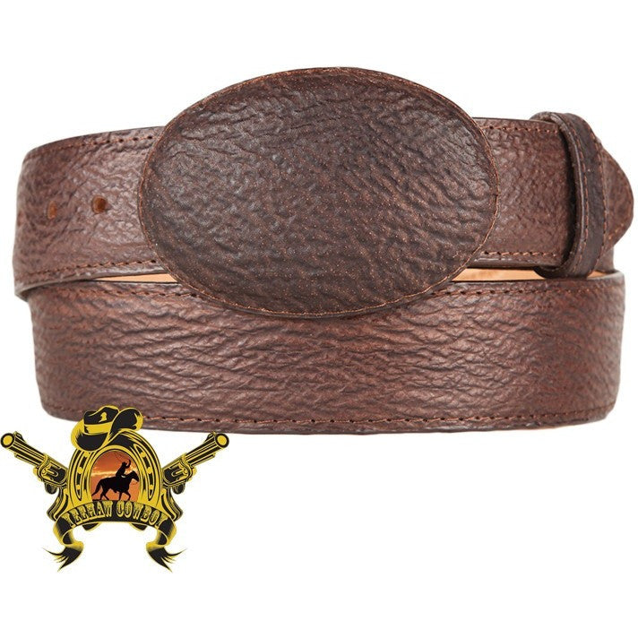 King Exotic Sharkskin Belt With Removable Buckle Brown - yeehawcowboy