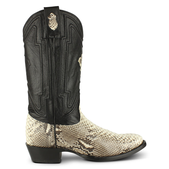 Men's Yeehaw Cowboy Python Boots Round Toe Handcrafted - yeehawcowboy