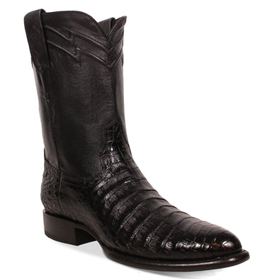 Men's Yeehaw Cowboy Caiman Belly Roper Boots Black Handcrafted - yeehawcowboy
