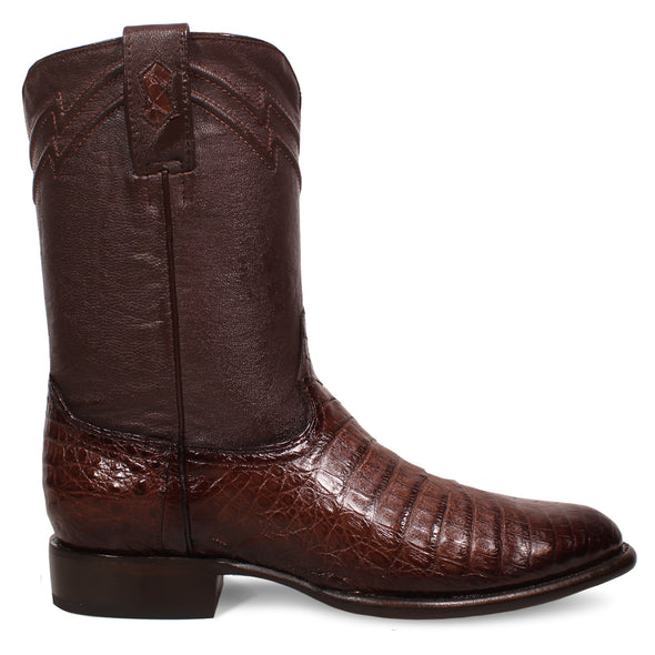 Men's Yeehaw Cowboy Caiman Belly Roper Boots Faded Brown Handcrafted - yeehawcowboy