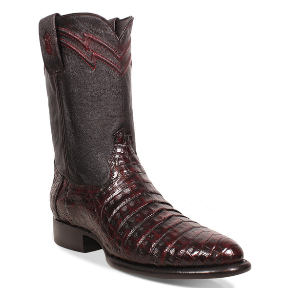 Men's Yeehaw Cowboy Caiman Belly Roper Boots Black Cherry Handcrafted - yeehawcowboy