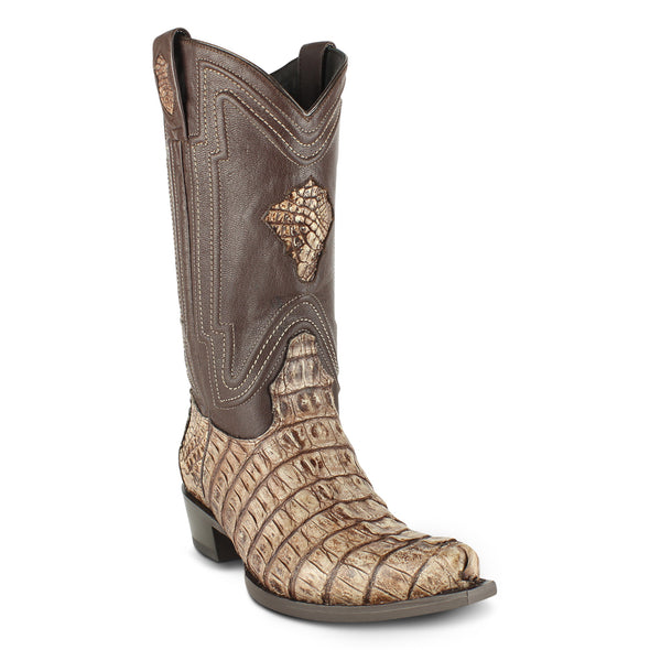 Men's Yeehaw Cowboy Caiman Tail Boots Snip Toe Handcrafted - yeehawcowboy