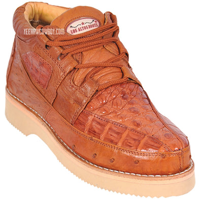 Men's Los Altos Caiman With Ostrich Casual Shoes Handcrafted - yeehawcowboy